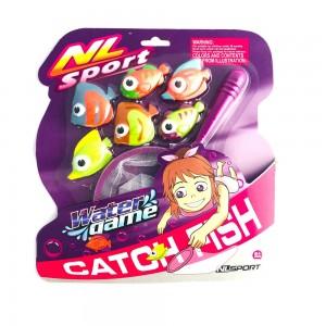 Juego Para Pileta De Atrapar Peces Con Red Mas 6 Peces Pesca