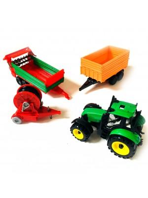 Set Tractor Con Cosechadora Juguete Campo