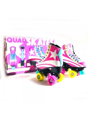Rollers Patines Profesional Bota Cuero Rosa Talle 32